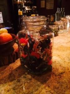 Some bar in Brooklyn - you get a jar of plastic animals for play while you drink.